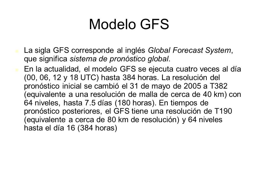 Modelo GFS La sigla GFS corresponde al inglés Global Forecast System, que significa sistema de pronóstico global.