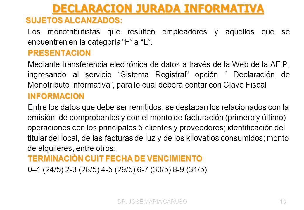 DECLARACION JURADA INFORMATIVA