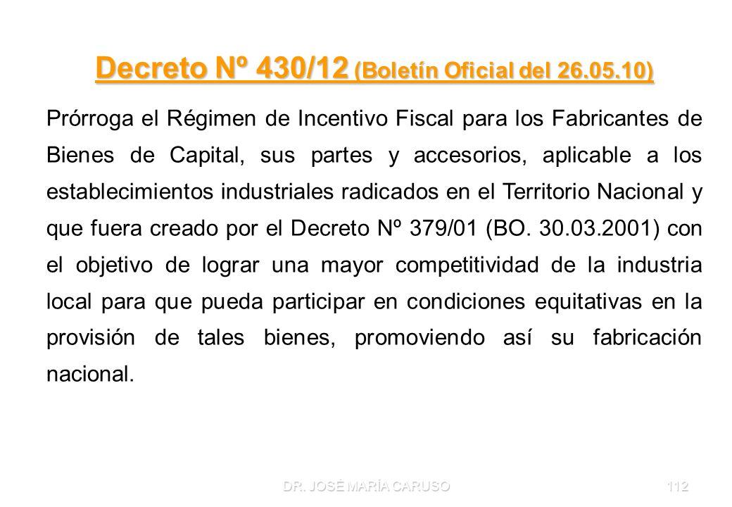 Decreto Nº 430/12 (Boletín Oficial del 26.05.10)