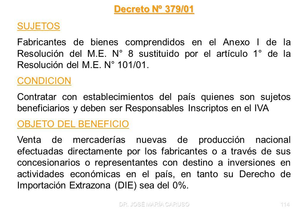 Decreto Nº 379/01 SUJETOS.