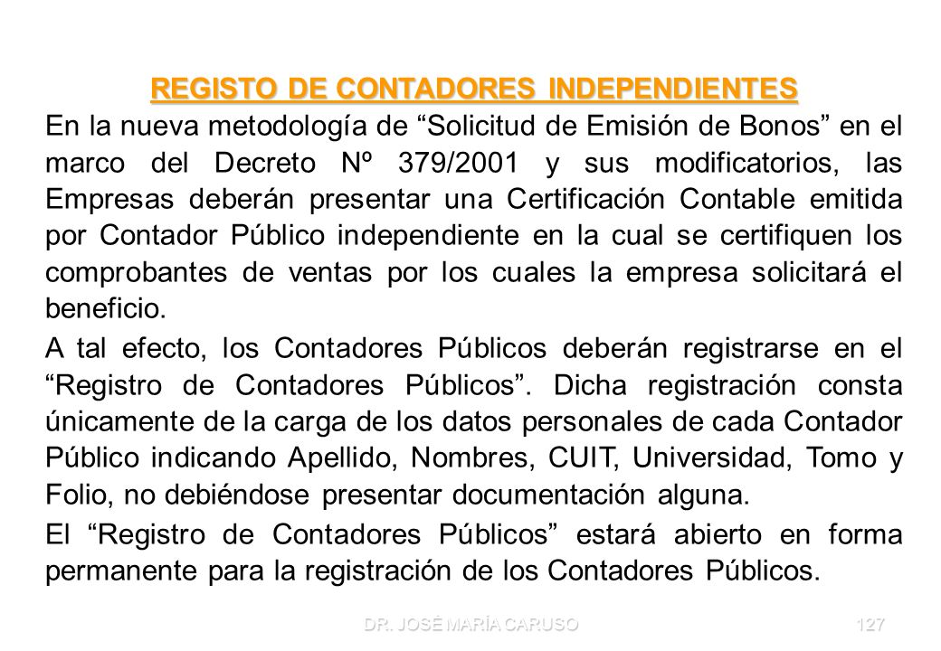 REGISTO DE CONTADORES INDEPENDIENTES