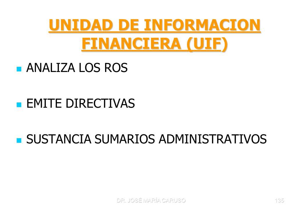 UNIDAD DE INFORMACION FINANCIERA (UIF)