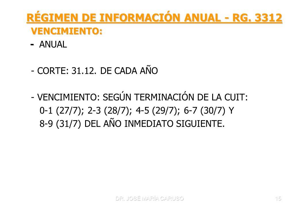 RÉGIMEN DE INFORMACIÓN ANUAL - RG. 3312