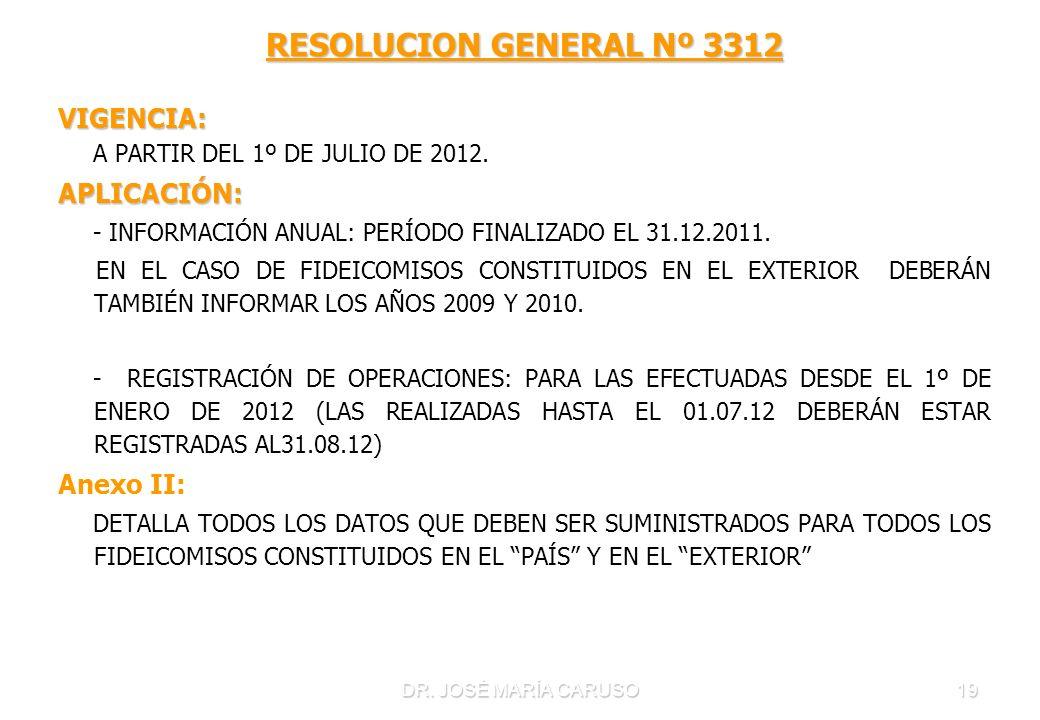 RESOLUCION GENERAL Nº 3312 VIGENCIA: APLICACIÓN: Anexo II: