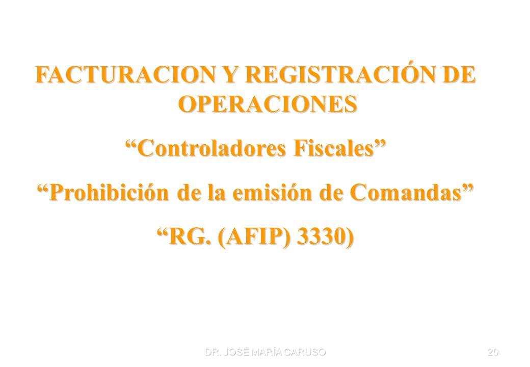 FACTURACION Y REGISTRACIÓN DE OPERACIONES Controladores Fiscales