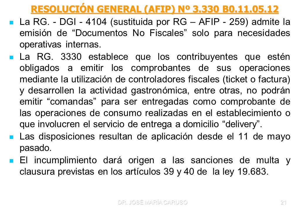 RESOLUCIÓN GENERAL (AFIP) Nº 3.330 B0.11.05.12