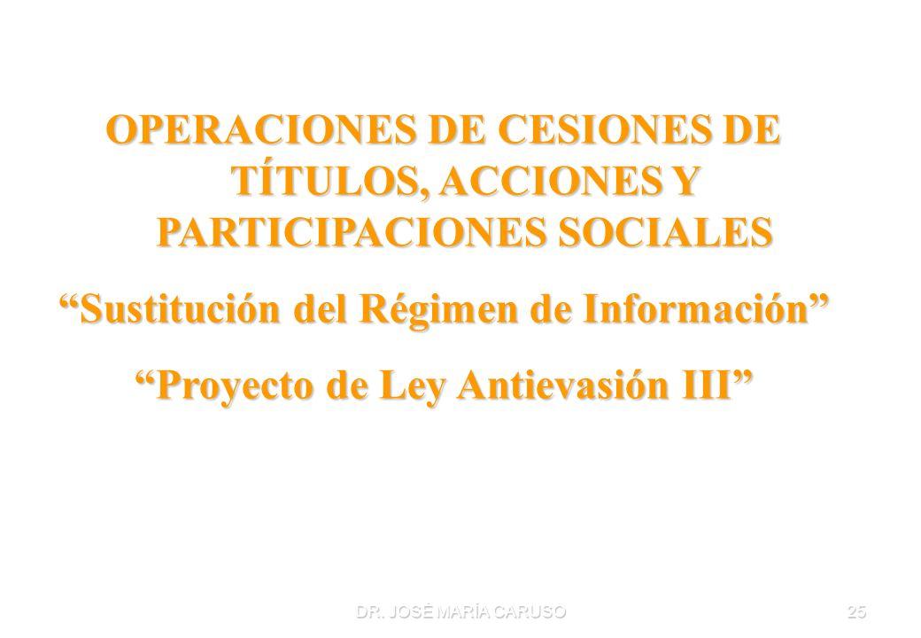 Sustitución del Régimen de Información