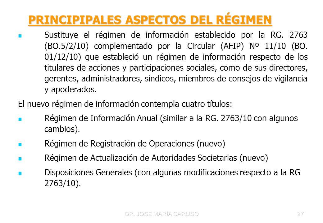 PRINCIPIPALES ASPECTOS DEL RÉGIMEN