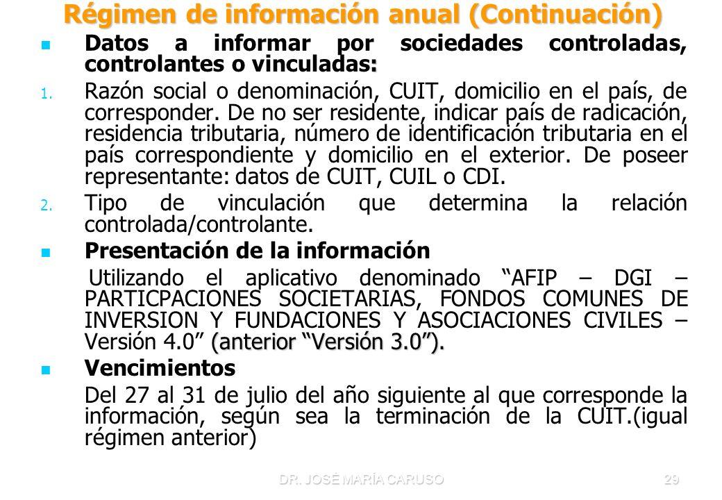 Régimen de información anual (Continuación)