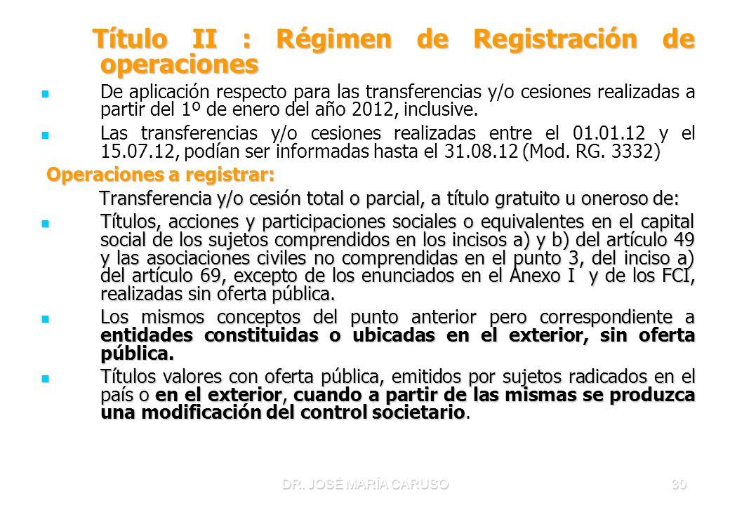 Título II : Régimen de Registración de operaciones