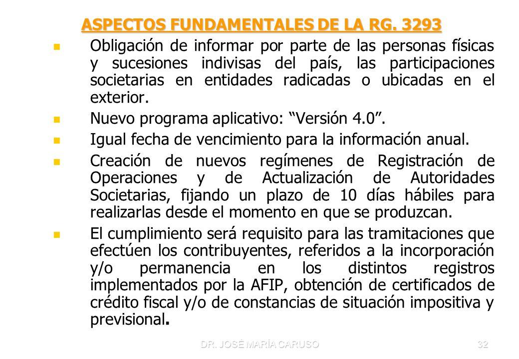 ASPECTOS FUNDAMENTALES DE LA RG. 3293