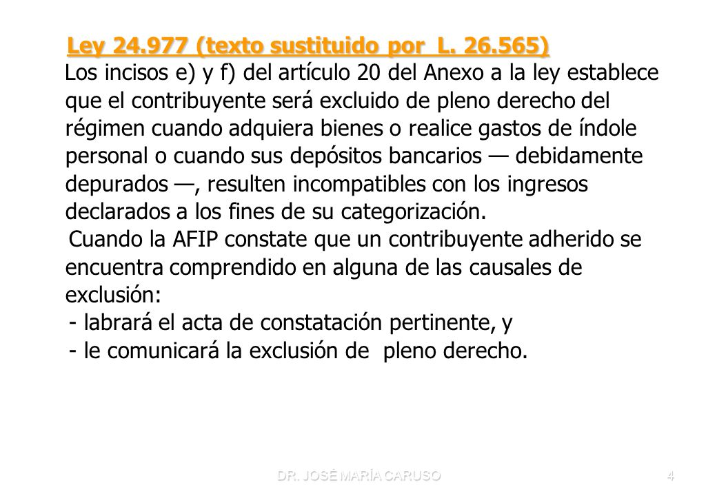 Ley 24.977 (texto sustituido por L. 26.565)
