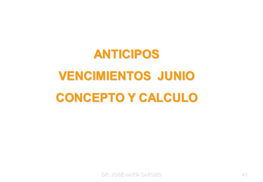 ANTICIPOS VENCIMIENTOS JUNIO CONCEPTO Y CALCULO