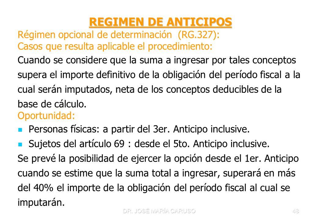 REGIMEN DE ANTICIPOS Régimen opcional de determinación (RG.327):
