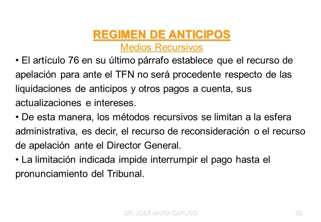 REGIMEN DE ANTICIPOS Medios Recursivos