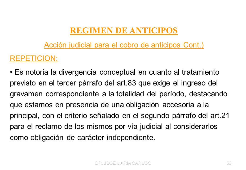 Acción judicial para el cobro de anticipos Cont.)