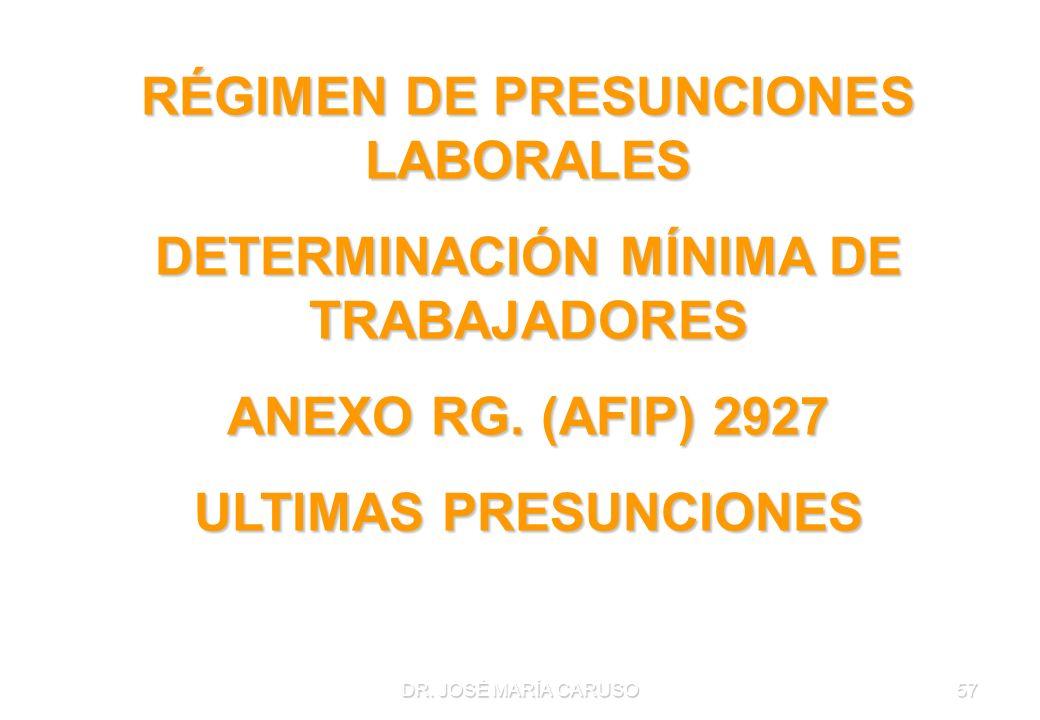 RÉGIMEN DE PRESUNCIONES LABORALES DETERMINACIÓN MÍNIMA DE TRABAJADORES