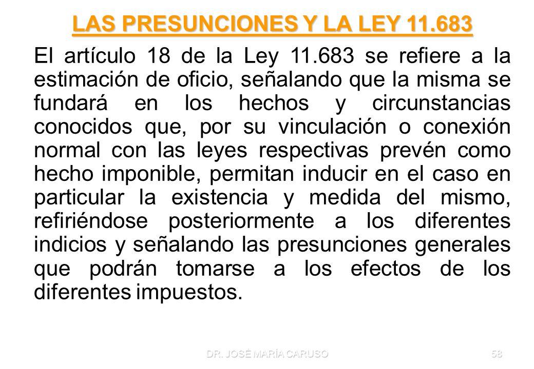 LAS PRESUNCIONES Y LA LEY 11.683