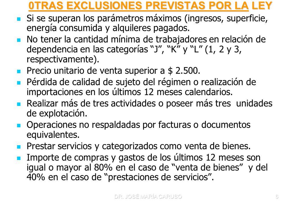 0TRAS EXCLUSIONES PREVISTAS POR LA LEY