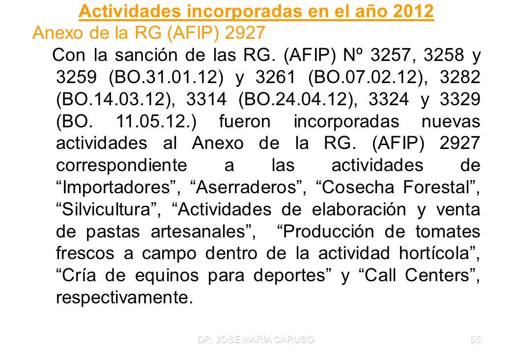 Actividades incorporadas en el año 2012