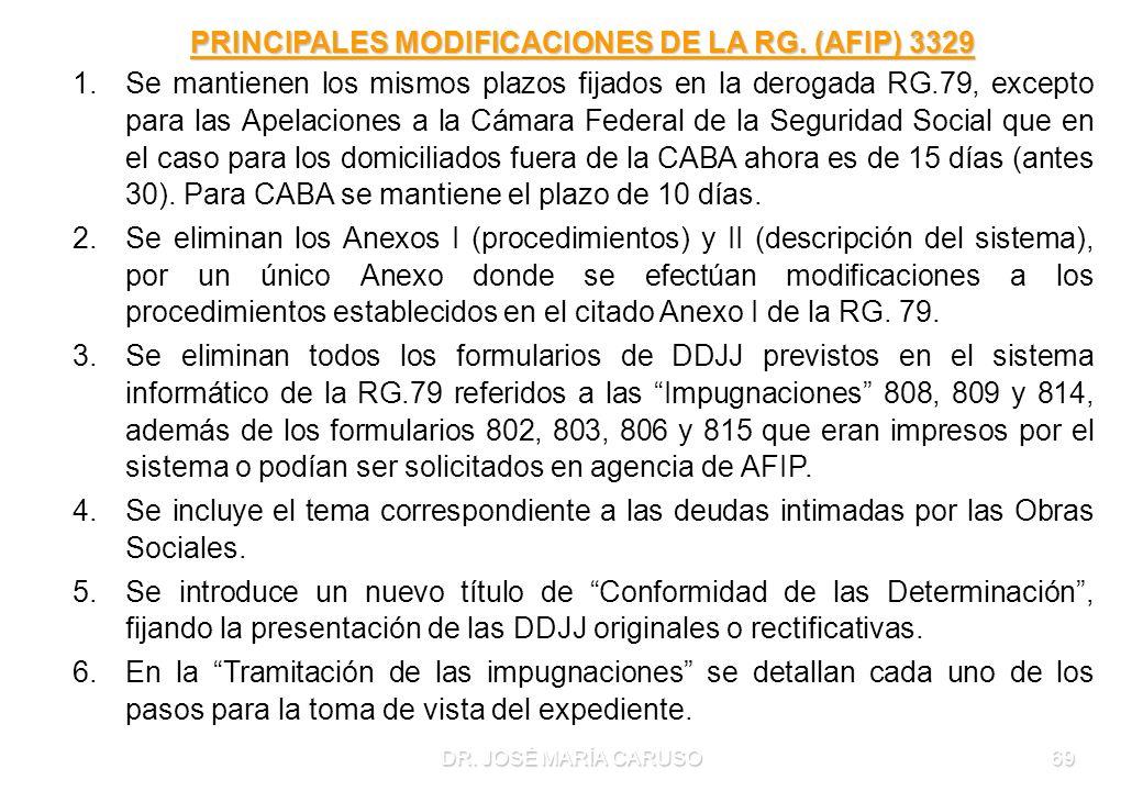 PRINCIPALES MODIFICACIONES DE LA RG. (AFIP) 3329