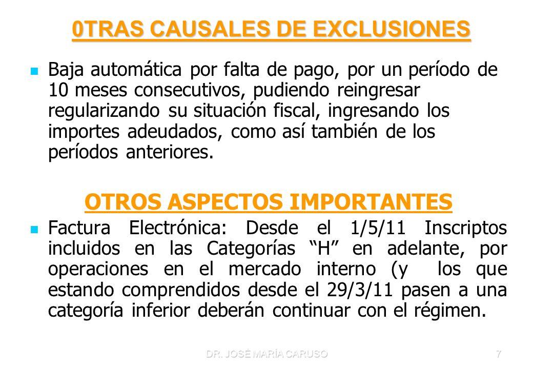 0TRAS CAUSALES DE EXCLUSIONES OTROS ASPECTOS IMPORTANTES