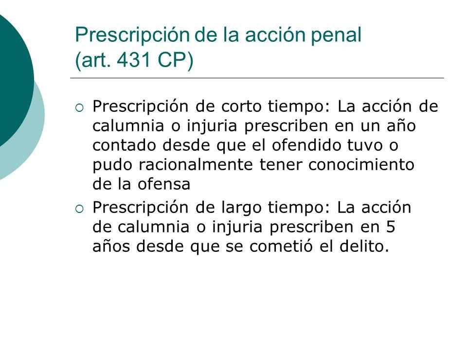 Prescripción de la acción penal (art. 431 CP)
