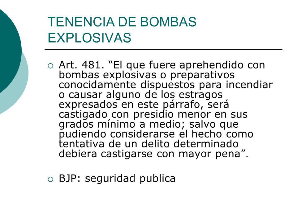 TENENCIA DE BOMBAS EXPLOSIVAS