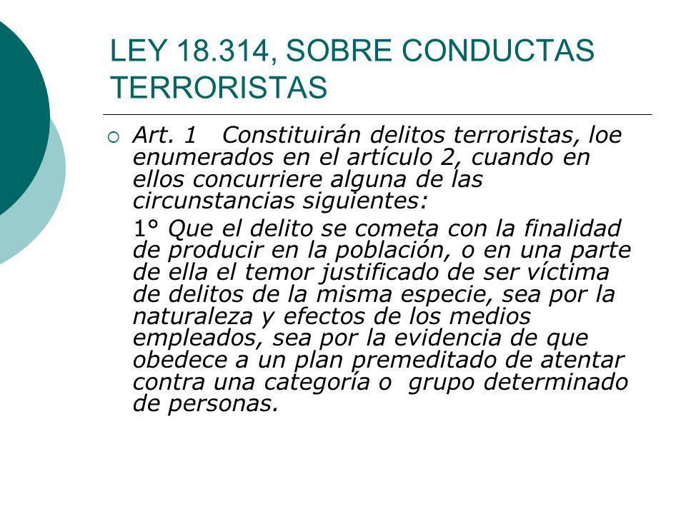 LEY 18.314, SOBRE CONDUCTAS TERRORISTAS