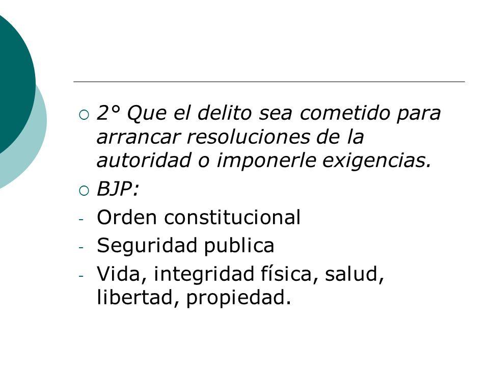 2° Que el delito sea cometido para arrancar resoluciones de la autoridad o imponerle exigencias.