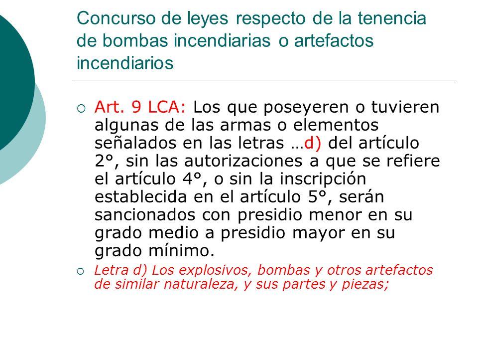 Concurso de leyes respecto de la tenencia de bombas incendiarias o artefactos incendiarios