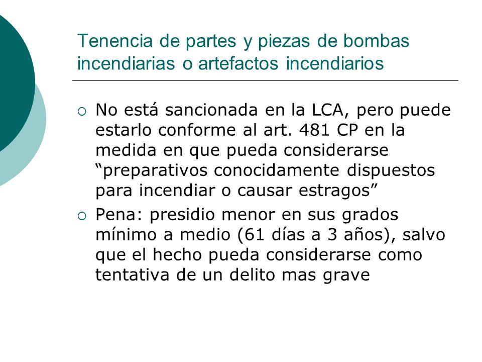 Tenencia de partes y piezas de bombas incendiarias o artefactos incendiarios