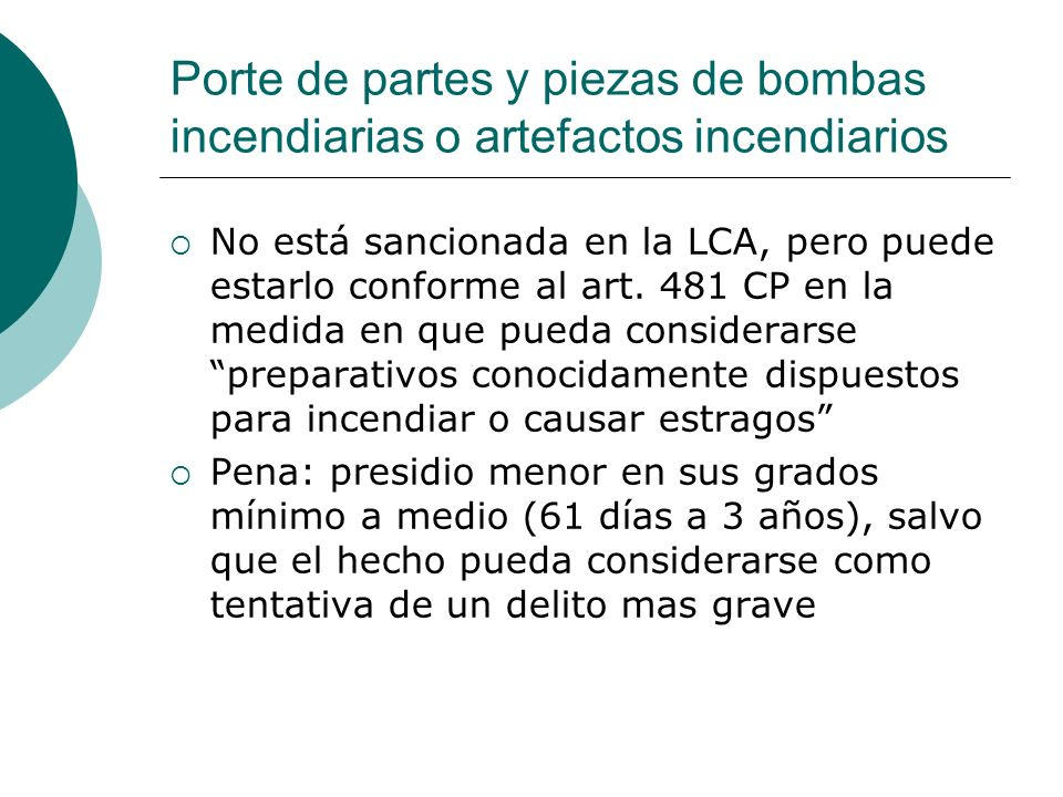 Porte de partes y piezas de bombas incendiarias o artefactos incendiarios