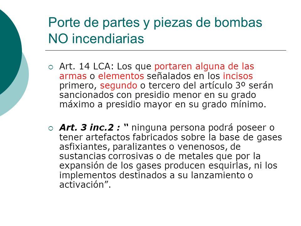 Porte de partes y piezas de bombas NO incendiarias