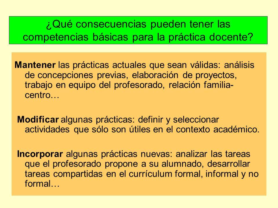 ¿Qué consecuencias pueden tener las competencias básicas para la práctica docente