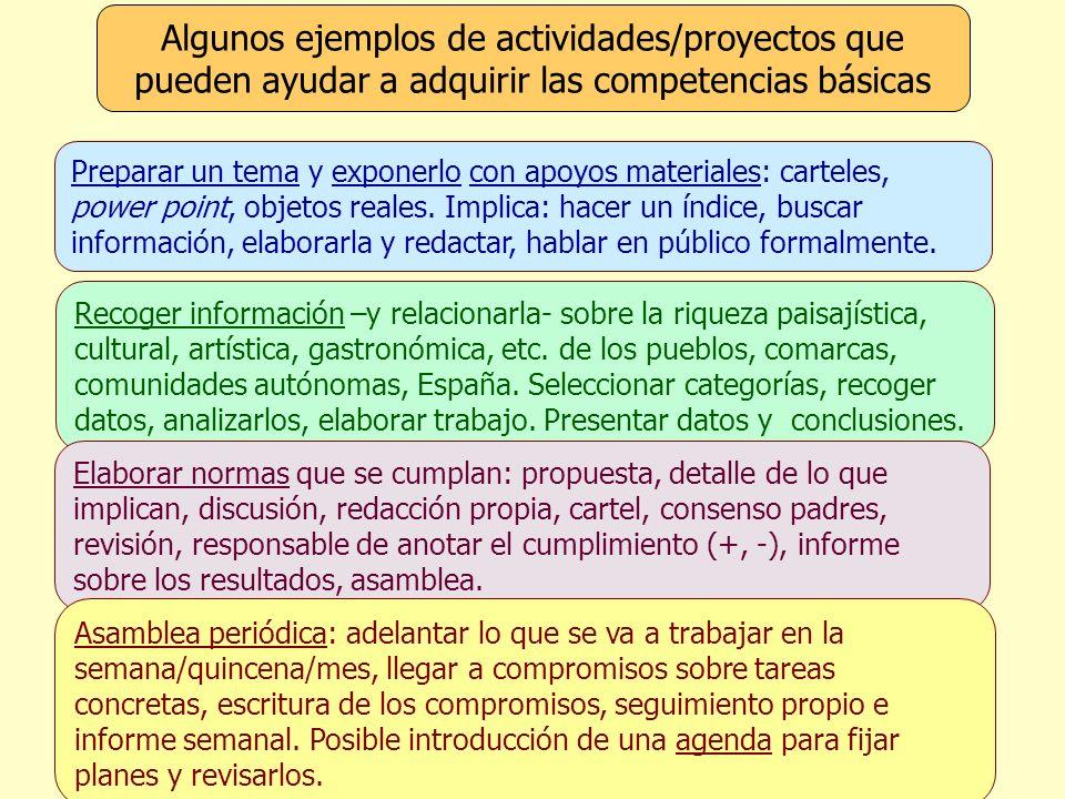 Algunos ejemplos de actividades/proyectos que pueden ayudar a adquirir las competencias básicas