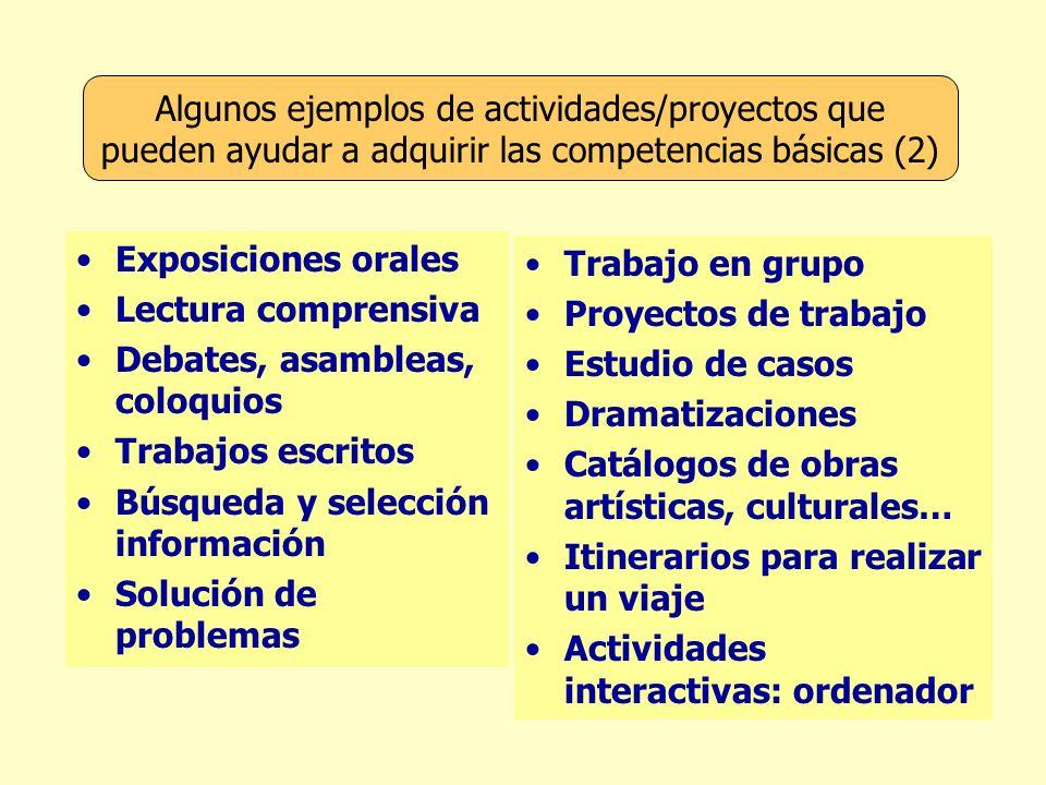 Algunos ejemplos de actividades/proyectos que pueden ayudar a adquirir las competencias básicas (2)