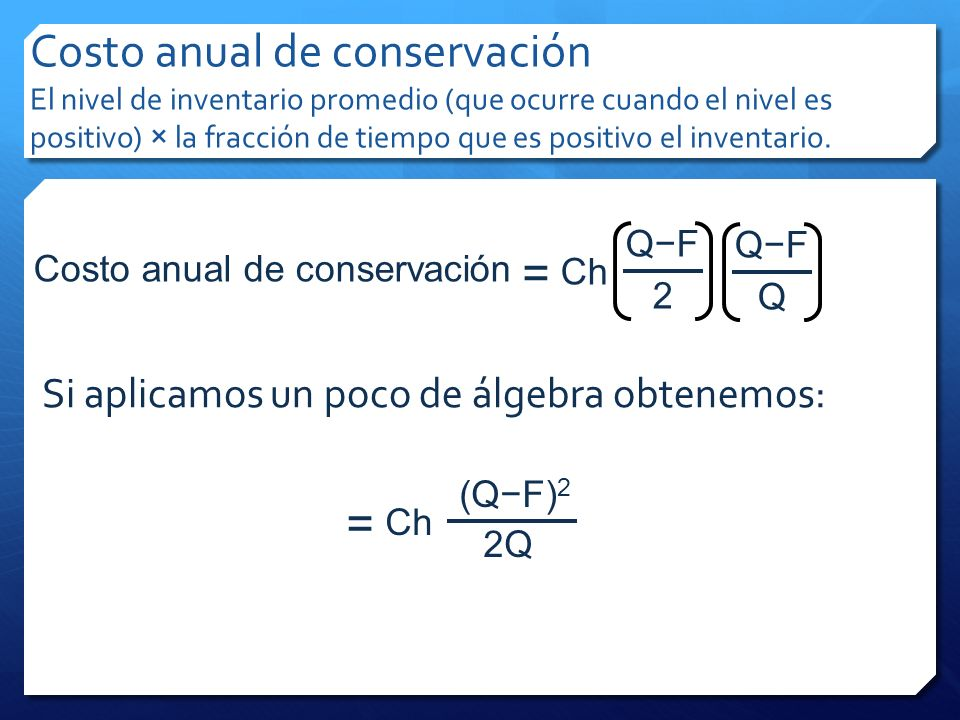 Costo anual de conservación