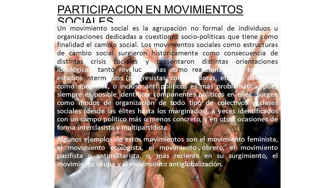 PARTICIPACION EN MOVIMIENTOS SOCIALES