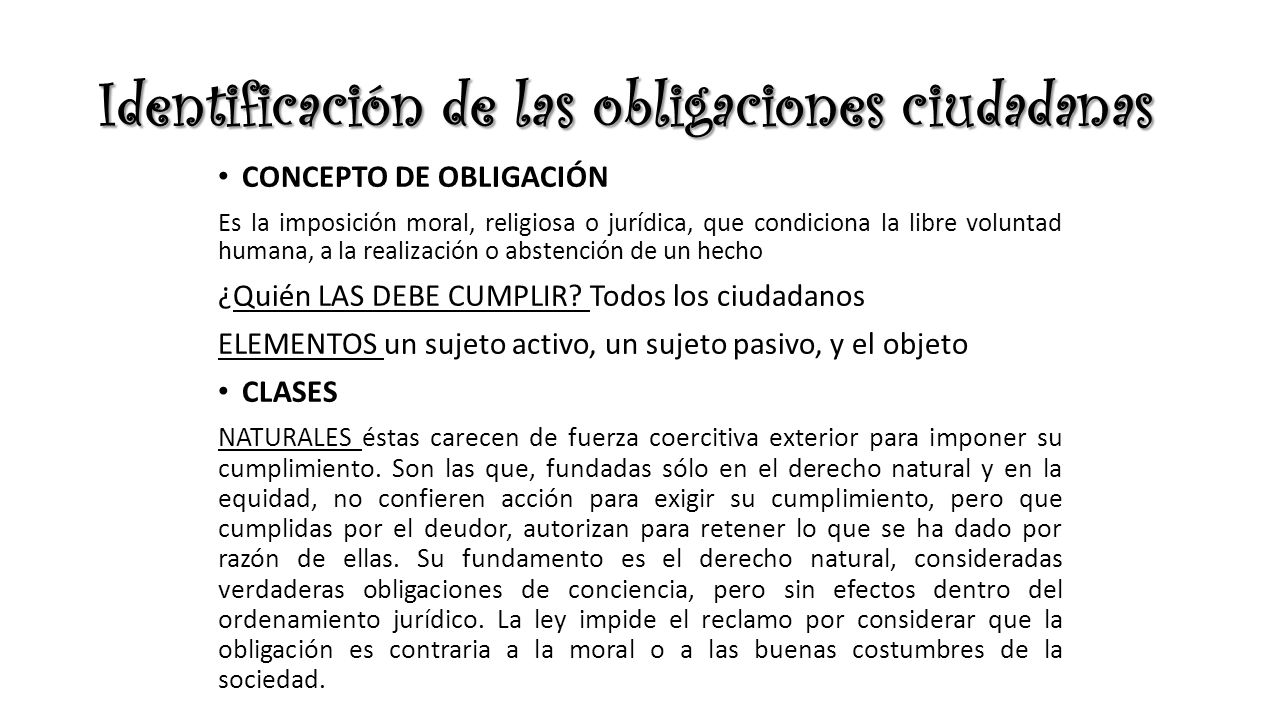 Identificación de las obligaciones ciudadanas