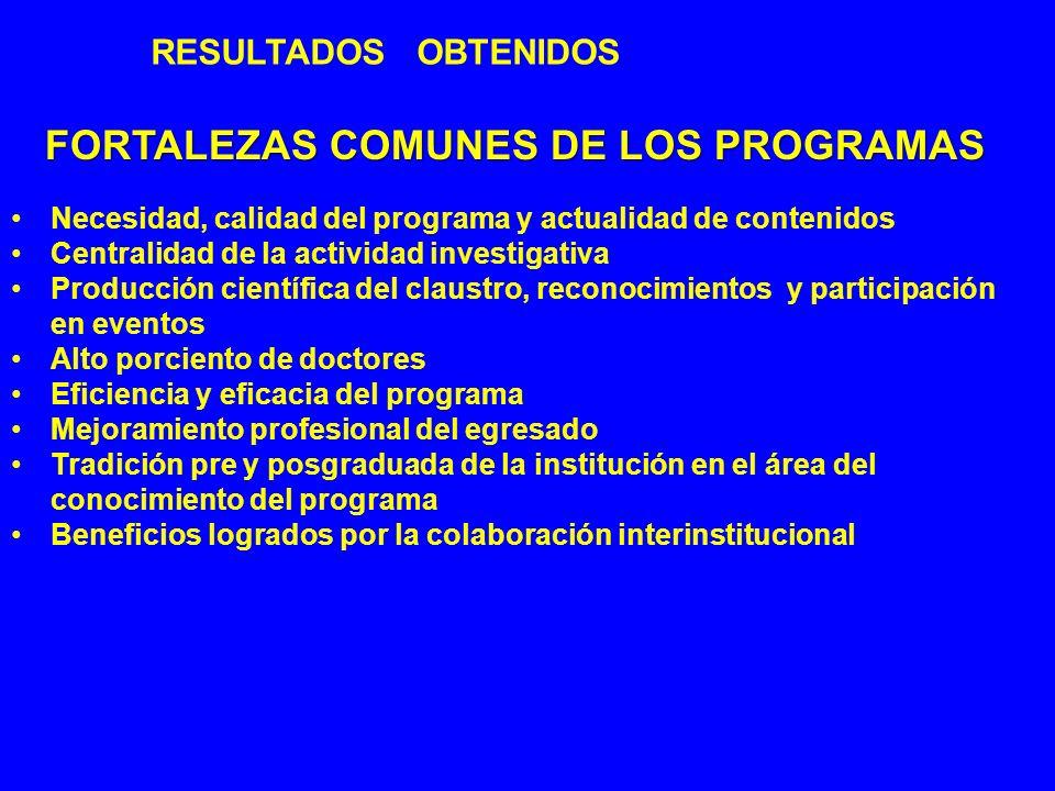 FORTALEZAS COMUNES DE LOS PROGRAMAS