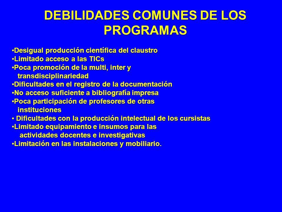 DEBILIDADES COMUNES DE LOS PROGRAMAS