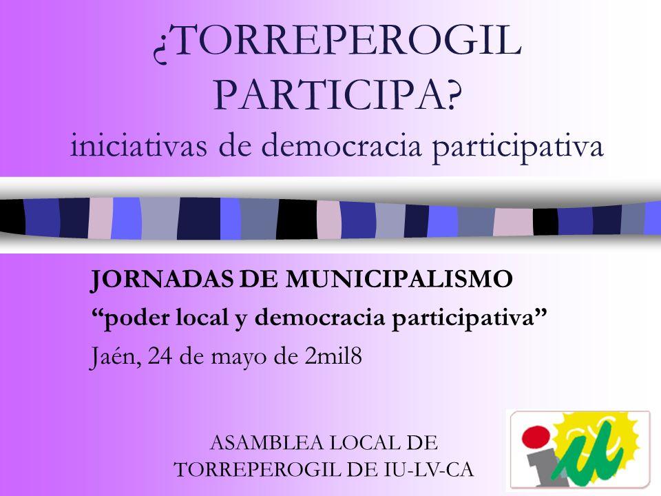 ¿TORREPEROGIL PARTICIPA iniciativas de democracia participativa