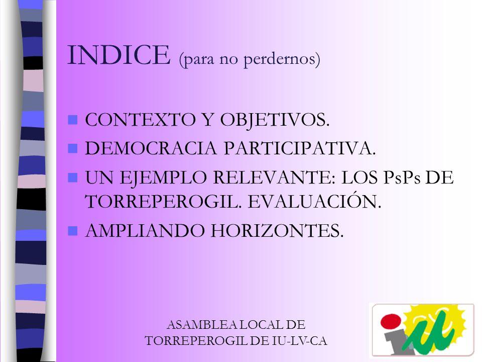 INDICE (para no perdernos)