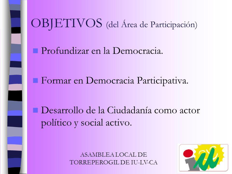OBJETIVOS (del Área de Participación)