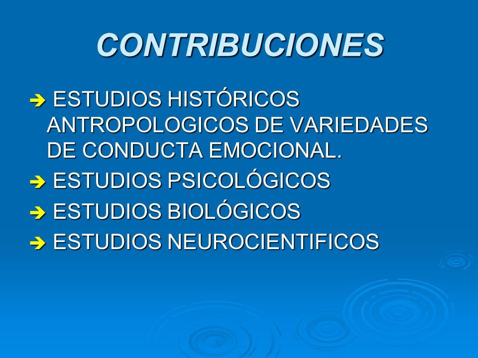 CONTRIBUCIONES ESTUDIOS HISTÓRICOS ANTROPOLOGICOS DE VARIEDADES DE CONDUCTA EMOCIONAL. ESTUDIOS PSICOLÓGICOS.
