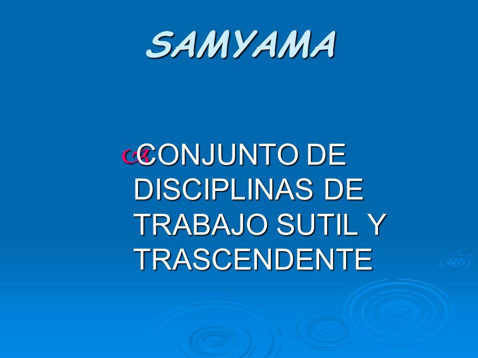 SAMYAMA CONJUNTO DE DISCIPLINAS DE TRABAJO SUTIL Y TRASCENDENTE