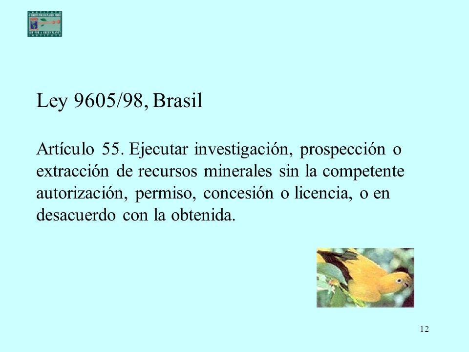 Ley 9605/98, Brasil Artículo 55.