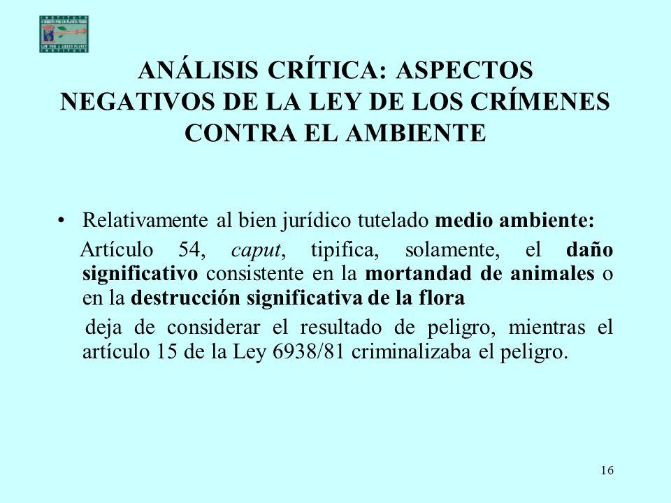 ANÁLISIS CRÍTICA: ASPECTOS NEGATIVOS DE LA LEY DE LOS CRÍMENES CONTRA EL AMBIENTE