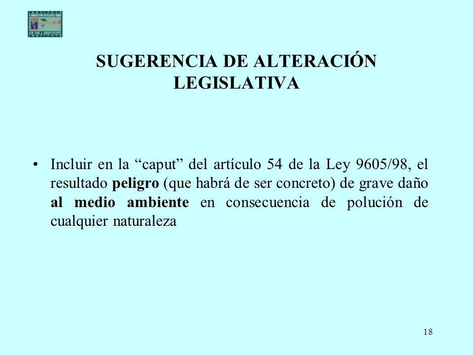 SUGERENCIA DE ALTERACIÓN LEGISLATIVA